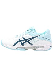Asics Gelsolution Speed 3 Outdoor Tennis Shoes White Blue Steel Crystel Blue