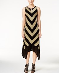Kensie Chevron Print Handkerchief Hem Maxi Dress Heather Dusty Olive