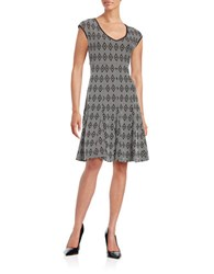 Taylor Diamond Patterned Fit And Flare Dress Black White