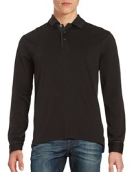 Black Brown Point Collar Long Sleeve Henley Shirt Black