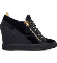 Giuseppe Zanotti Low Cut Suede And Leather Wedge Trainers Black
