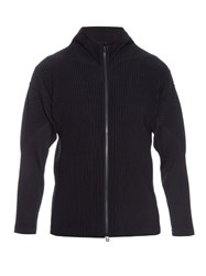 Homme Plisse Pleated Zip Up Cardigan Navy