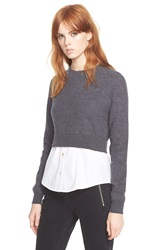 Marc By Marc Jacobs 'Superfelt' Shirttail Sweater Dark Grey Melange Multi
