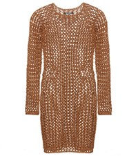 Balmain Cotton Crochet Knit Mini Dress Brown