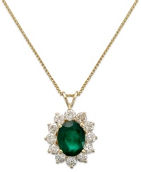 Macy's 14K Gold Necklace Emerald 1 3 4 Ct. T.W. And Diamond 1 Ct. T.W. Pendant