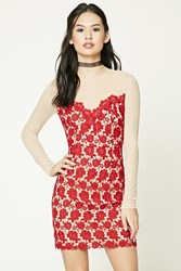 Forever 21 Crochet Bodycon Dress Red Nude