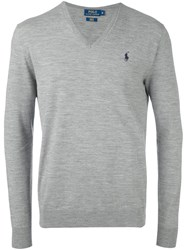 Polo Ralph Lauren V Neck Jumper Grey