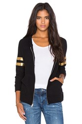 Lauren Moshi Wit Foil Chain Happyface With Stripes Zip Up Hoodie Black