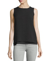 Vince Layered Jacquard Sleeveless Shell Black