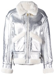 Petar Petrov Metallic Shearling Aviator Jacket