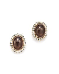 Bloomingdale's Smoky Topaz Oval And Diamond Stud Earrings In 14K Yellow Gold Brown White