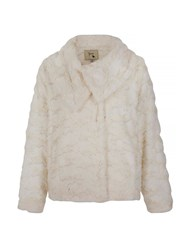 Yumi Fluffy Faux Fur Jacket Cream
