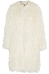 Dkny Oversized Faux Fur Coat Ivory