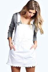 Boohoo White Denim Dungaree Pinafore White