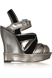 Oscar De La Renta Metallic Leather And Suede Wedge Sandals