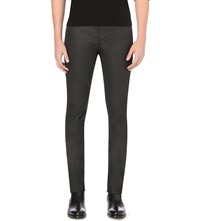 The Kooples Slim Fit Skinny Mid Rise Coated Stretch Denim Jeans Black