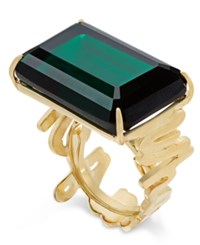 Kate Spade New York Gold Tone Green Crystal Cocktail Ring