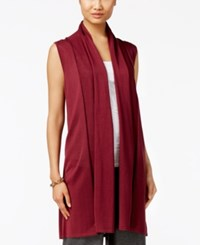 Joseph A Shawl Collar Duster Sweater Vest Burgundy