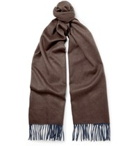 Begg And Co Arran Two Tone Cashmere Scarf Brown