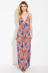 Forever 21 Floral Print Maxi Dress Coral Blue