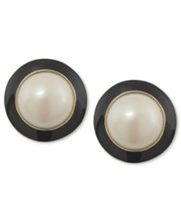 Carolee Earrings 12K Gold Plated White Glass Pearl Black Button Earrings