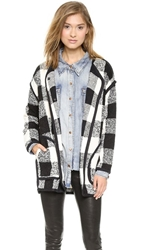 J.O.A. Checker Coat With Black Binding Black White