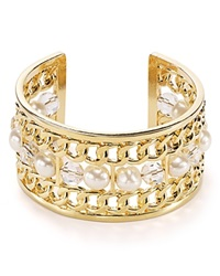 T Tahari Ball And Chain Cuff Gold White Pearl