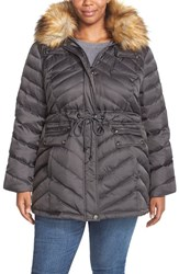 Plus Size Women's Laundry By Shelli Segal Drawstring Waist Down And Feather Fill Utility Parka With Faux Fur Trim Slate