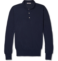 Boglioli Long Sleeved Cotton Polo Shirt Blue