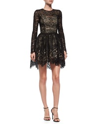 Alexis Long Sleeve Malin Lace A Line Skirt Black