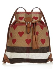 Burberry Heart Print Canvas Check Backpack Red Multi
