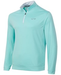 Greg Norman For Tasso Elba Men's 1 4 Zip Golf Pullover Aqua Blast