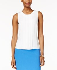 Kasper Sleeveless Pleat Neck Top Lily White