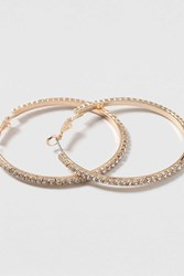 Topshop Rhinestone Hoop Earrings Clear