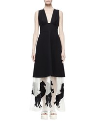 Stella Mccartney Sleeveless Tuxedo Dress W Horse Hem Black