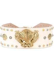 Fausto Puglisi Embellished Sea Motif Wide Belt Nude And Neutrals