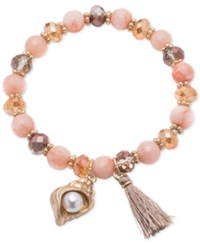 Lonna And Lilly Gold Tone Pink Beaded Charm Stretch Bracelet