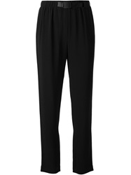 Proenza Schouler Belted Crepe Trousers Black