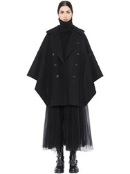 Valentino Double Breasted Felted Wool Cape