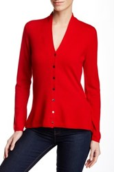 In Cashmere V Neck Cashmere Cardigan Red
