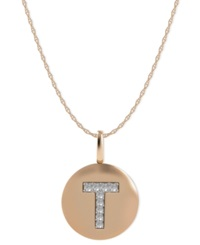 Macy's 14K Rose Gold Necklace Diamond Accent Letter T Disk Pendant