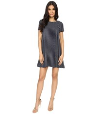 Brigitte Bailey Uma Short Sleeve Striped Dress Navy White Women's Dress Blue
