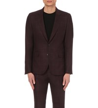 Paul Smith Slim Fit Checked Wool Jacket Burgundy