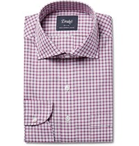 Drakes Checked Cotton Poplin Shirt Red