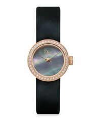 Christian Dior D De Diamond Mother Of Pearl 18K Yellow Gold And Leather Strap Watch No Color