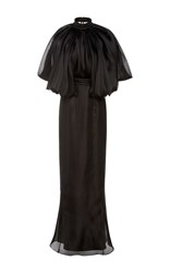 Brandon Maxwell Flounce Shoulder Column Dress Black