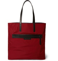 Burberry Reversible Leather Trimmed Tote Bag Red