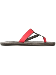 Lanvin Strappy Flip Flops Red