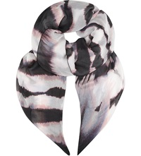Karen Millen Tie Dye Print Scarf Black And White