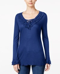 Inc International Concepts Lace Up Ruffled Top Only At Macy's Goddess Blue